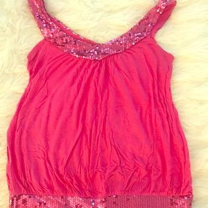 Pink sparkly tank top